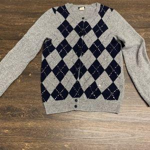 J Crew Cashmere Blend Argyle Sweater Size Small